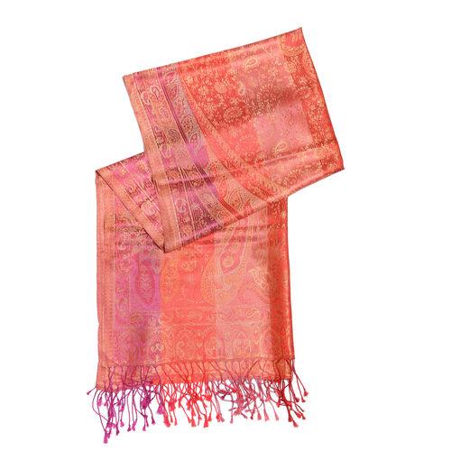 SILK MARK- 100% Superfine Silk Orange and Multi Colour Jacquard Jamawar Scarf with Fringes (Size 190x70 Cm)