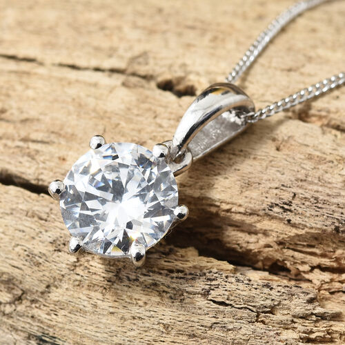 J Francis - Platinum Overlay Sterling Silver (Rnd 8 mm) Solitaire Pendant with Chain Made with SWAROVSKI ZIRCONIA (Equivalent Ct. wt 2.040)