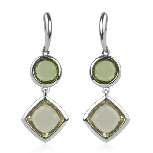 Lemon Quartz (Cush), Hebei Peridot Earrings (with Push Back) in Rhodium Plated Silver 6.460 Ct.