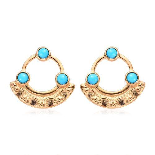 Arizona Sleeping Beauty Turquoise Earrings (with Push Back) in 14K Gold Overlay Sterling Silver 1.50