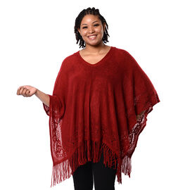 Spring Collection - Solid Red Colour Hollow Out Poncho with Tassel (Free Size; Length 60Cm)