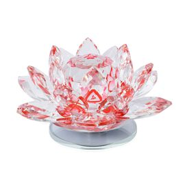 Rotating Faceted Crystal Lotus (Size 14x6.5 Cm) - Colour Red