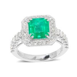 Signature Collection - 950 Platinum AAAA Boyaca Colombian Emerald, Diamond (SI & I1-G-H) Ring 3.730 Ct, Platinum wt 9.70 Gms