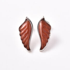 Isabella Liu Angel Wing Collection - Carved Red Jade Earrings (with Push Back) in Rhodium Overlay St