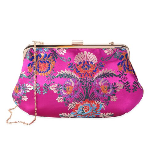 Fuchsia and Multi Colour Flower Embroidered Clutch Bag with Chain Shoulder Strap (Size 29x17.5 Cm)