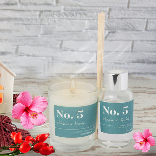 Wax Lyrical Gift Bag Includes Odour Neutralising Reed Diffuser (40ml) and Candle (66g) -  Hibiscus and Rosehip