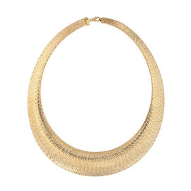 Super Auction- Vicenza Collection- 9K Yellow Gold Graduated Omega Necklace (Size 17 with 2 inch Exte