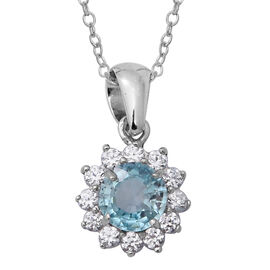 Ratnakiri Blue Zircon (Rnd), Natural Cambodian White Zircon Floral Pendant With Chain (Size 18) in R
