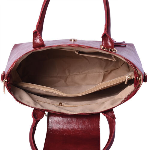 Solid Red Tote Bag (35x12x26cm) with Adjustable Shoulder Strap and Tassel