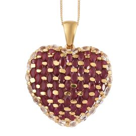 African Ruby (Mrq), White Topaz Heart Pendant with Chain in 14K Gold Overlay Sterling Silver 12.500 Ct. Silver wt 7.52 Gms.