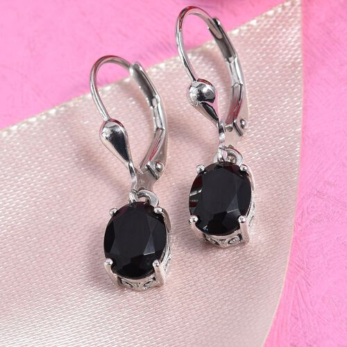 AA Boi Ploi Black Spinel (Ovl) Lever Back Earrings in Platinum Overlay Sterling Silver 3.000 Ct.