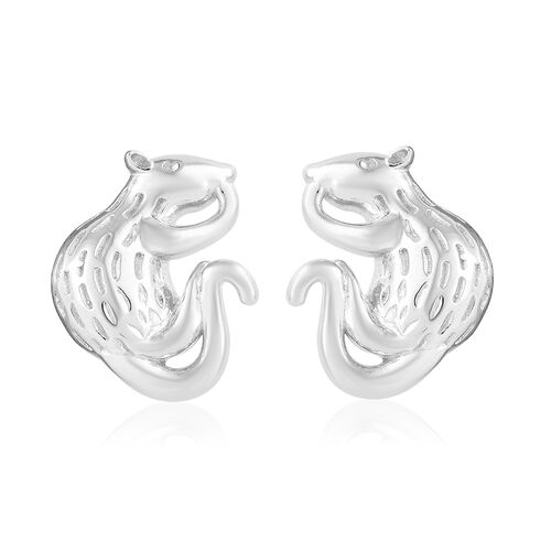 Platinum Overlay Sterling Silver Mouse Earrings (With Push Back)