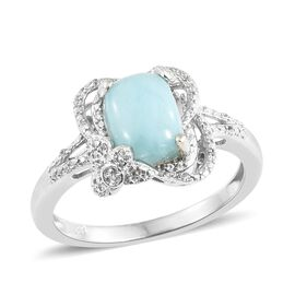 Larimar (Cush), Natural Cambodian Zircon Ring in Platinum Overlay Sterling Silver 2.500 Ct.