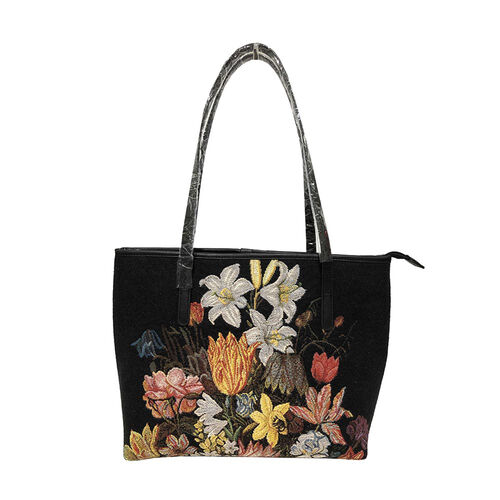 Signare Tapestry - A Still Life of Flowers Artwork Tote Bag (Black) with Dark Blue Scarf