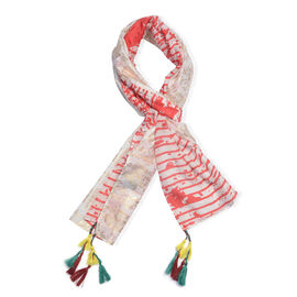 85% Cotton 15% Silk Red, Gold and White Colour Flower Pattern Scarf with Tassels (Free Size)