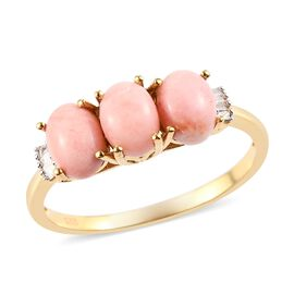 Oregon Sunrise Peach Opal and Diamond Ring in 14K Gold Over Sterling Silver