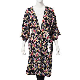 Floral Paradise Midi Wrap Dress; 100% Polyester Fabric - Size S/M  - Black/Multi Colour