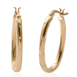 Yellow Gold Overlay Sterling Silver Hoop Earrings (with Clasp Back), Silver wt 3.60 Gms