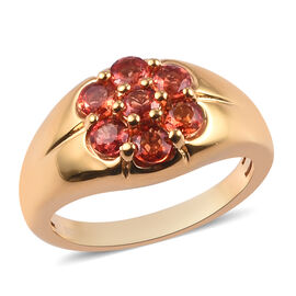 Red Sapphire Floral Ring in 14K Gold Overlay Sterling Silver 2.10 Ct.