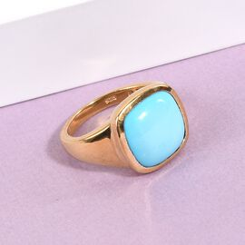 Arizona Sleeping Beauty Turquoise Solitaire Ring in 14K Gold Overlay Sterling Silver 5.64 Ct.