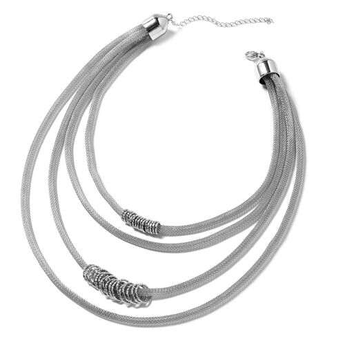Multi - Layer Necklace (Size 18) in Silver Plated
