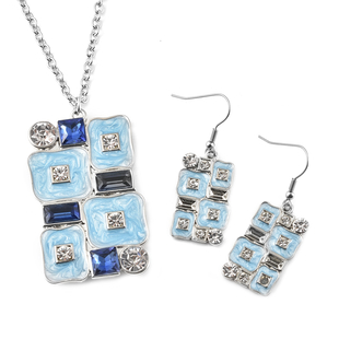 2 Pieces Set - White Austrian Crystal and Simulated Blue Sapphire Necklace (Size 24 with 2 inch Exte