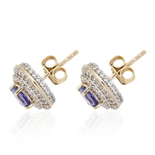 9K Yellow Gold AA Tanzanite (Rnd), Natural Cambodian Zircon Stud Earrings (with Push Back) 2.500 Ct.
