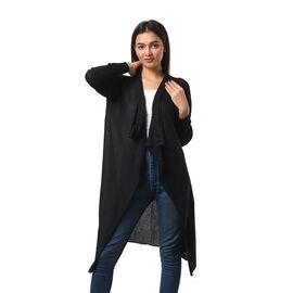 Marigold Lotus: 100% Cotton Knit Long Sleeve Waterfall Cardigan in Black