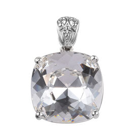 J Francis White Crystal from Swarovski Solitaire Pendant in Platinum Plated Silver