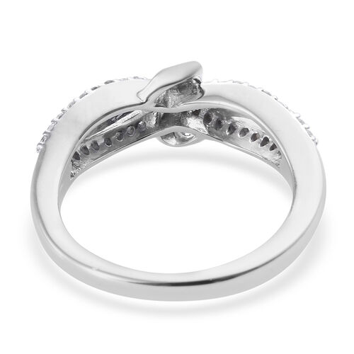 Diamond (Rnd and Bgt) Knot Ring in Platinum Overlay Sterling Silver 0.250 Ct.