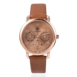 STRADA Japanese Movement Three Eye Chronograph Look Water Resistant Watch with Brown Strap