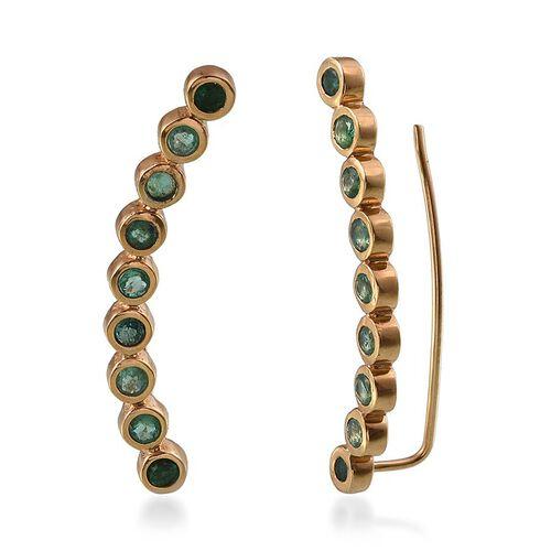Kagem Zambian Emerald (Rnd) Climber Earrings in 14K Gold Overlay Sterling Silver 1.750 Ct. Silver wt 7.37 Gms.