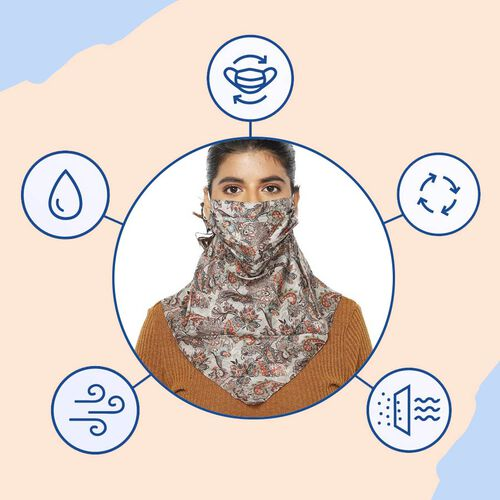 2-in-1 100% Silk Printed Soft Feel Scarf and Protective Face Mask (Size 43x43cm) -  White