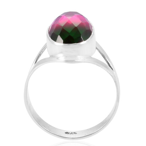 CHECKERBOARD CUT Royal Bali Collection Water Melon Quartz (Ovl) Ring in Sterling Silver 10.810 Ct.