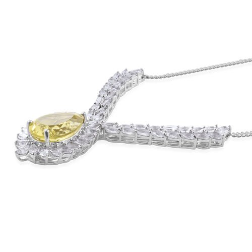 Natural Green Gold Quartz (Pear 11.75 Ct), White Topaz Necklace (Size 18) in Platinum Overlay Sterling Silver 21.000 Ct.