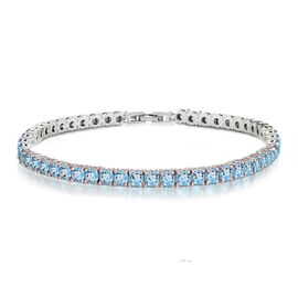 One Time Mega Deal- Simulated Paraiba Tourmaline (Rnd 4mm, 10 Ct Equivalent) Tennis Bracelet (Size 8