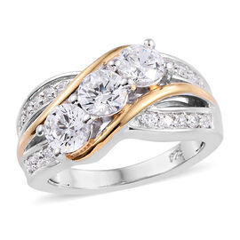 J Francis Platinum and Yellow Gold Overlay Sterling Silver (Rnd) Ring Made with SWAROVSKI ZIRCONIA,