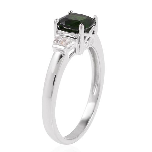 Russian Diopside (Cus 1.500 Ct.), White Topaz Ring in Rhodium Overlay Sterling Silver 1.725 Ct.