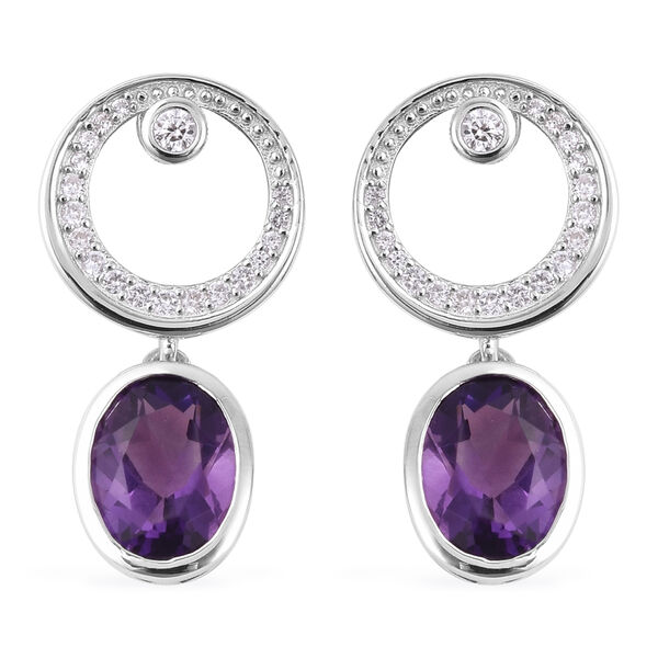 Isabella Liu Twilight  4.52 Ct Lusaka Amethyst and Zircon Drop Earrings in Rhodium Plated Silver