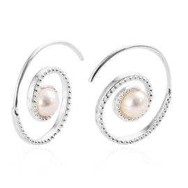 Designer Inspired-Fresh Water Pearl (Rnd 7mm) Spiral hook Earrings in Sterling Silver.Silver Wt 5.00 Gms