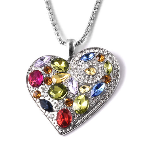 White & Champagne Austrian Crystal, Simulated Multi Gemstone Heart Hook Earrings and Pendant with Chain (Size 24 with 2.5 inch Extender) in Silver Tone