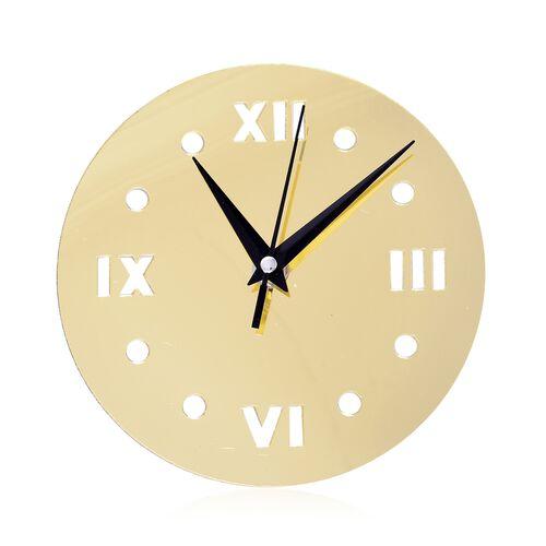 Golden Colour Sun Design Wall Clock