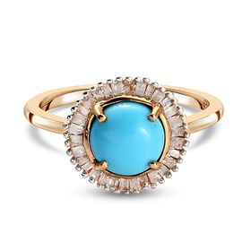 Sleeping Beauty Turquoise, White Diamond Main Stone With Side Stone Ring in 14K Gold Overlay Sterlin