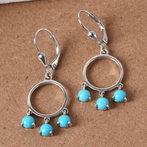 Arizona Sleeping Beauty Turquoise Lever Back Earrings in Platinum Overlay Sterling Silver 1.75 Ct.