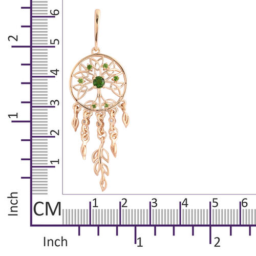 LucyQ Russian Diopside (Rnd), Natural Cambodian Zircon Dream Catcher Earrings (with Push Back) in Yellow Gold Overlay Sterling Silver