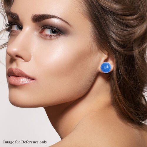 Carved Blue Jade Stud Earrings (with Push Back) in Sterling Silver 8.00 Ct,