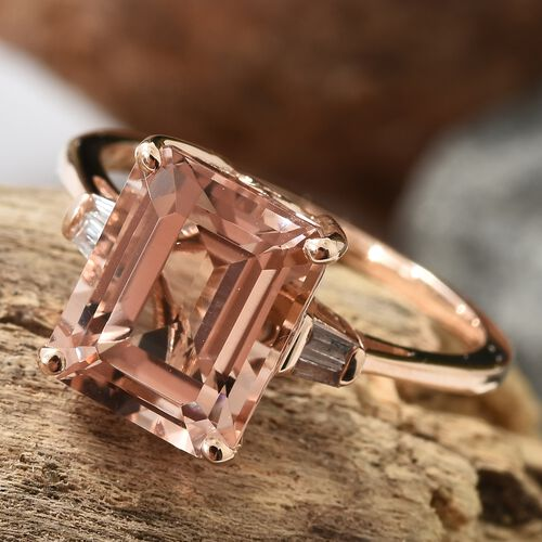 14K Rose Gold AAA Marropino Morganite (Oct), Diamond Ring 4.000 Ct.