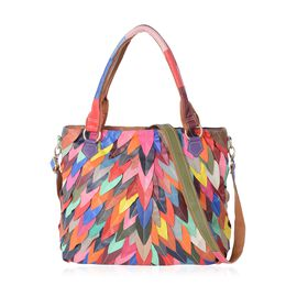 MOROCCO COLLECTION 100% Genuine Leather Multi Colour Leaves Pattern Tote Bag with Removable Shoulder