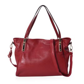 100% Genuine Leather Litchi Pattern Crossbody Bag with Detachable Strap and Zipper Closure (Size 35x