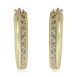 Hoop Earrings with Channel Set Cubic Zirconia in 9K Gold